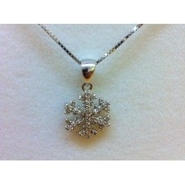 Collana in argento 925 con fiocco di neve e zirconi