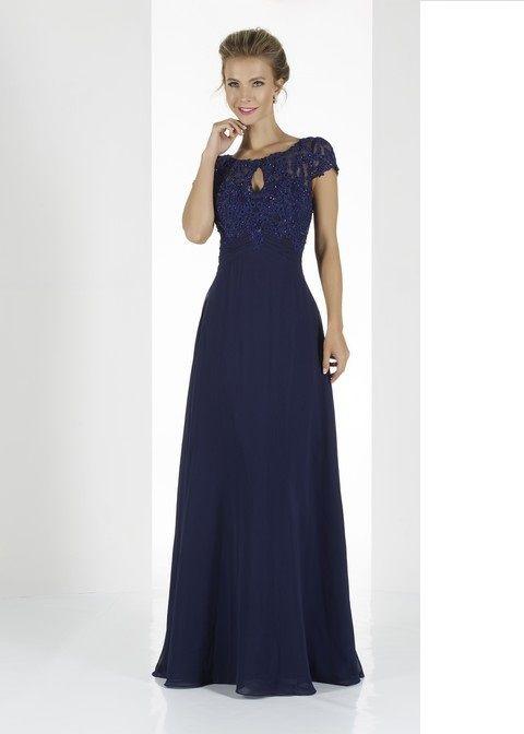 Spoločenské šaty svadobný salon valery, dlhé šaty, modré šaty, šaty s rukávikom , krajkové šaty