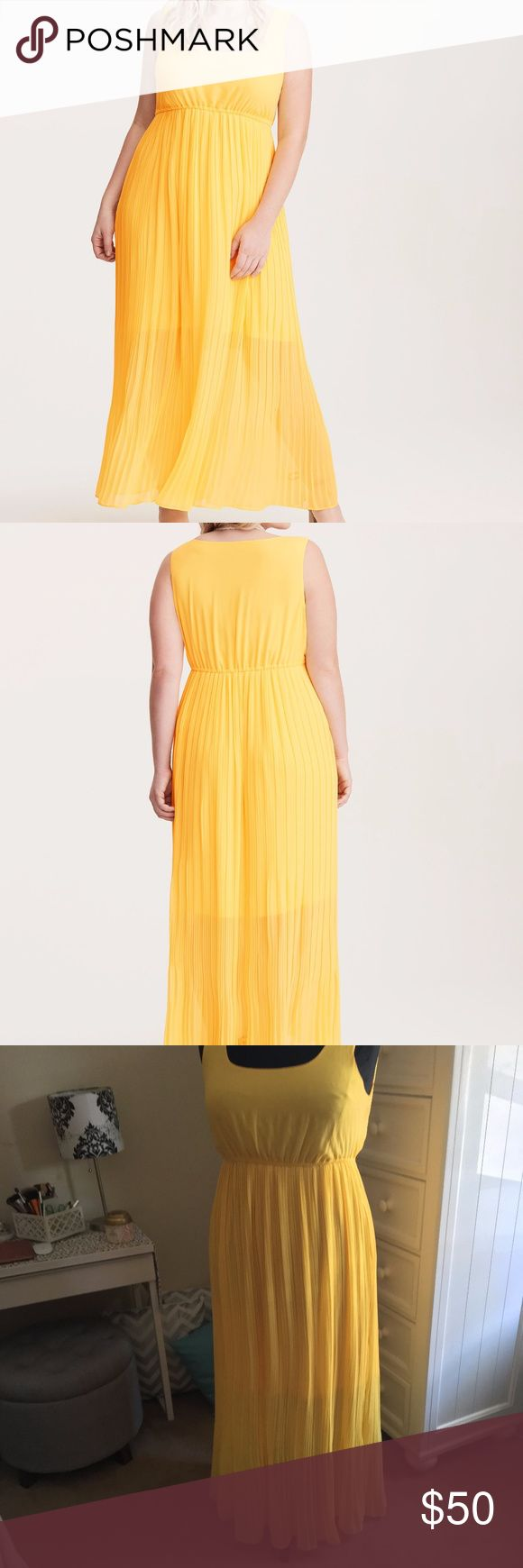 "Torrid Yellow Pleated Chiffon Maxi Dress Plus 1X New without tags Torrid Pleated Chiffon Maxi Dress in yellow, size 1X.  This sold out quickly!  Beautiful dress, just never wore it & it sat in my closet.  Sunshine yellow chiffon is the sucker punch of color your nightly routine needs, while the extreme pleated maxi skirt is suited for dancing and spinning the night away. A relaxed scoop bodice pares down the look (ever so slightly).  ~57 1/2"" from shoulder to hem  100% Polyester torrid…"