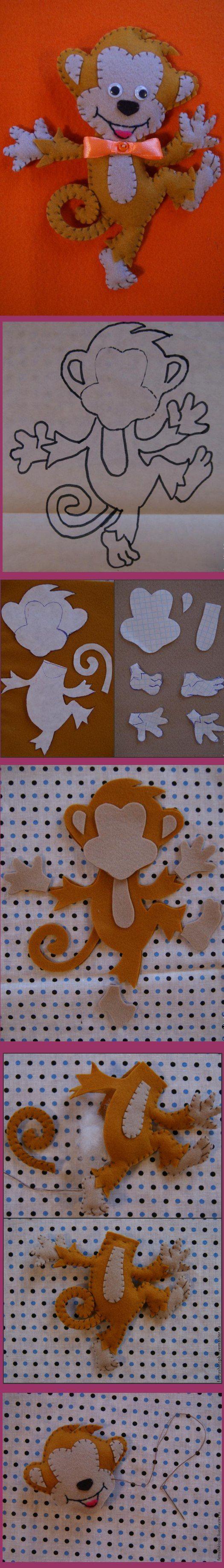 felt monkey stuffed toy pattern idea handmade craft animal