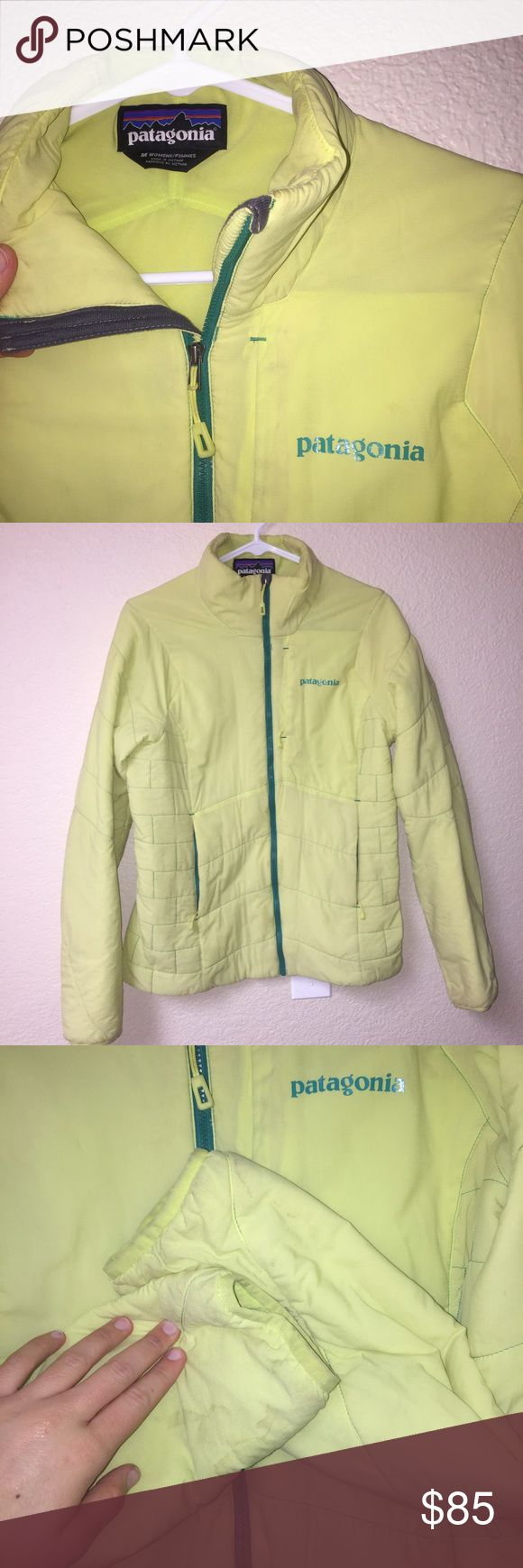 Patagonia women's nano-air zip up Last seasons colors. Yellow and green. Really good looking jacket and so comfortable. In perfect condition aside from some dirty spots on the jacket from skiing last year. Would definitely come out in the wash. Jackets is warm and super awesome! Patagonia Jackets & Coats Puffers