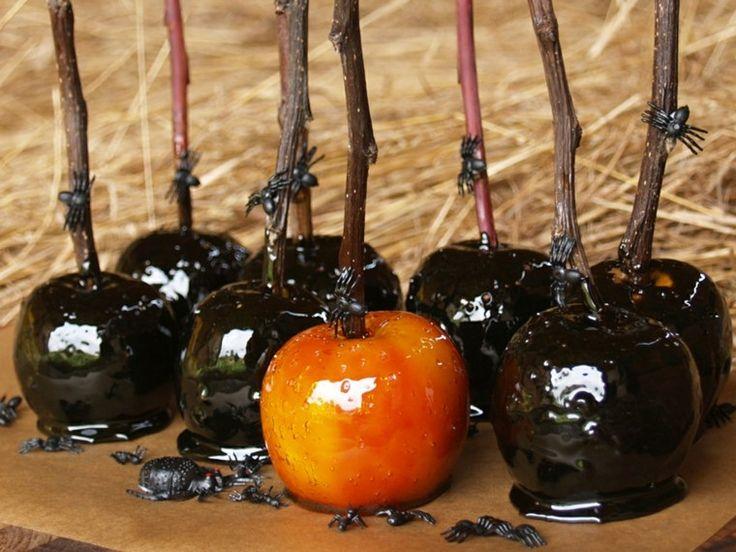 manzanas de caramelo color negro