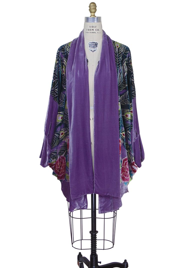 Victorian Peacock Silk Velvet Batwing Cocoon Opera Coat - Thistle