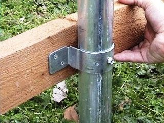 "The brackets to use when steel posts are ""the posts"" should be of the same grade that the posts are. Nuts and bolts will be used to fasten the brackets from the posts to the wood runners."