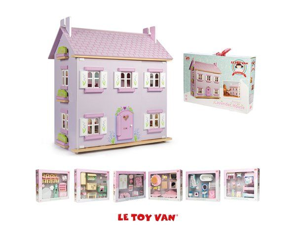 The Le Toy Van The Lavender Dolls House Bargain Bundle is a fantastic special offer including all six sets of the Daisylane dolls house furniture. Save £60!  This beautiful dolls house from Le Toy Van is painted a pleasant lavender colour, two storeys high this dolls house comes with painted opening windows and decorated window boxes.