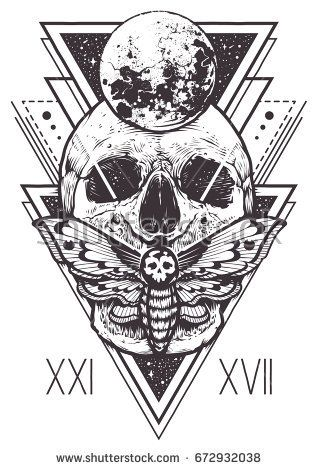 Vector boho design of skull with hawk moth and sacred geometric elements, hipster triangles, mystical symbols. Tattoo style graphic design. Vector mon…