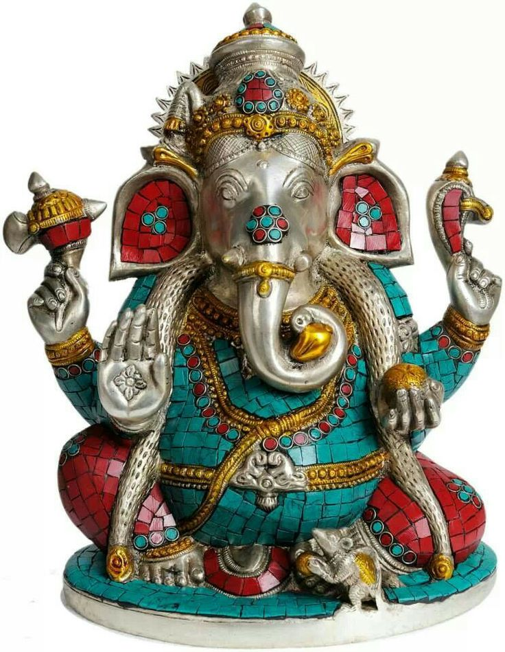 Ganesha dressed in turquoise and coral