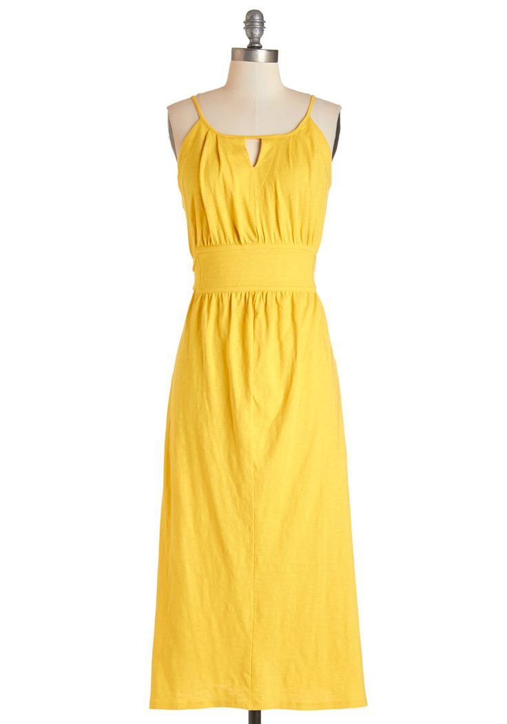 Sunshine Stunning Dress. Slip on your shades, because the combination of the sun and the yellow maxi you're sporting makes for one seriously bright afternoon. #yellow #modcloth