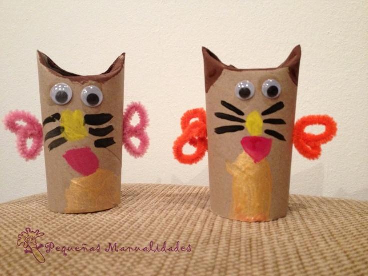 Con rollo de papel hemos logrado estos dos gatitos - Manualidades de ninos faciles ...