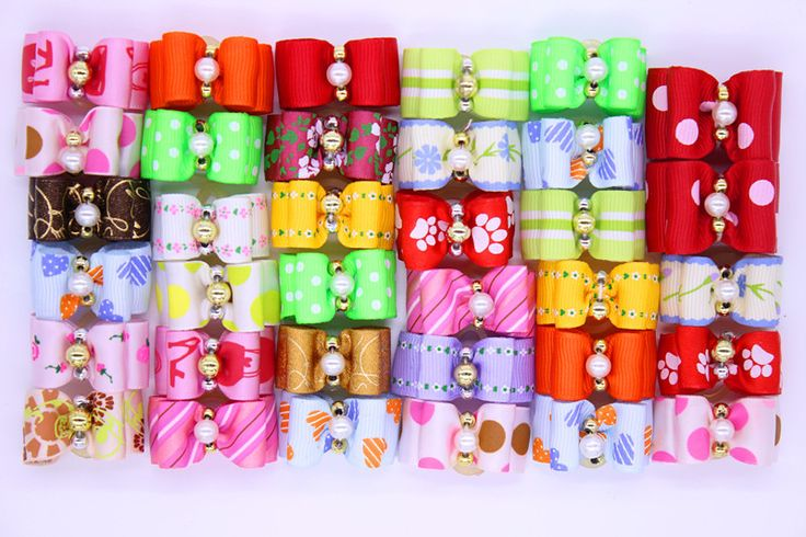 30 шт. сочетание стиля шерсть домашних животных резинки с жемчужным бантом для собак волос резинки зоосалон продукты подарок купить на AliExpress
