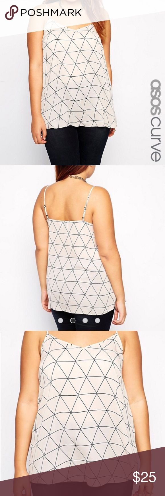 ASOS Curve Cami Top Diamond Geometric sz24 NWOT ASOS curve diamond print cami top  US size 24  New without tags, never worn   Color is a very pale pink/peach with black diamond pattern   100% polyester, machine washable ASOS Curve Tops Tank Tops
