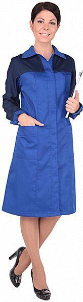 Халат рабочий женский СПЕЦИАЛИСТ василек с темно-синим