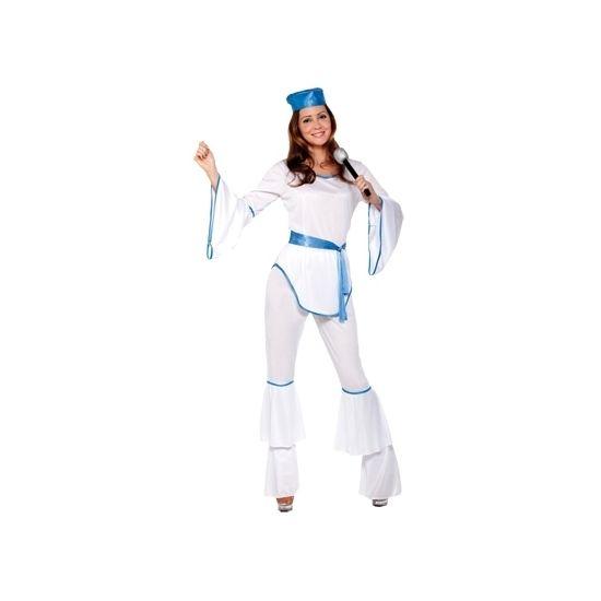Disco kostuum wit voor dames. Dit wit met blauw disco kostuum voor dames bestaat uit het shirt, de broek en ceintuur.