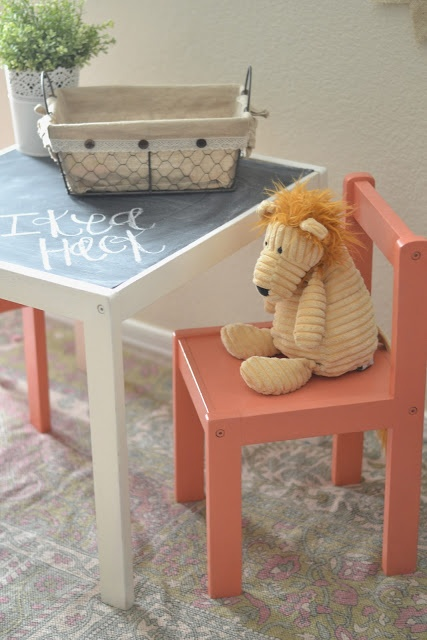 Ikea Hack kids table with chalkboard top-I want to do this without painting the rest of table and chairs...just the chalkboard