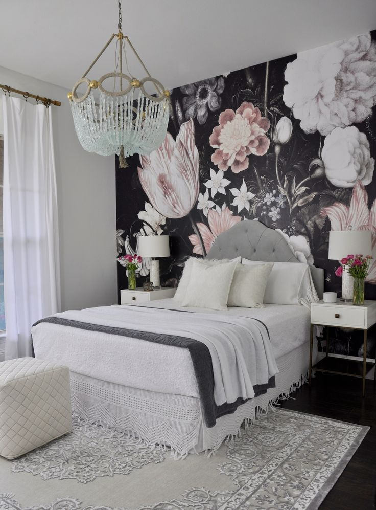 beautiful guest bedroom with floral wallpaper