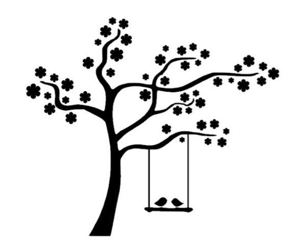 Applique Cerisier en fleur avec balançoire en flex ou en flock thermocollant - Coloris au choix