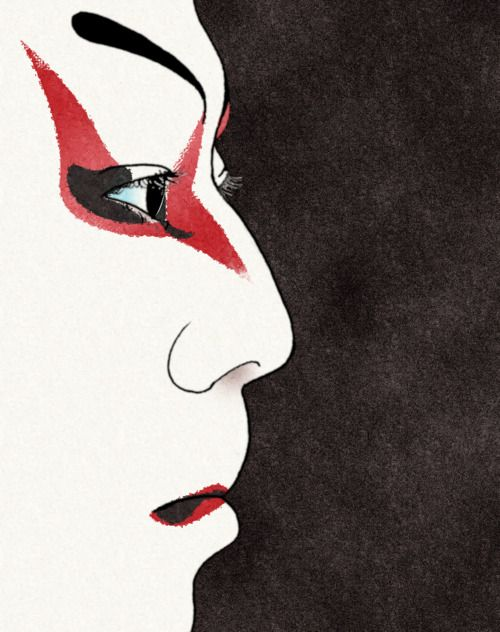 Kabuki makeup- this image and the others connected with a Kabuki theatre gave me an idea to create something similar to them, as an image for my project's transitions, due to connotation the Body Art (makeup) with tattoing