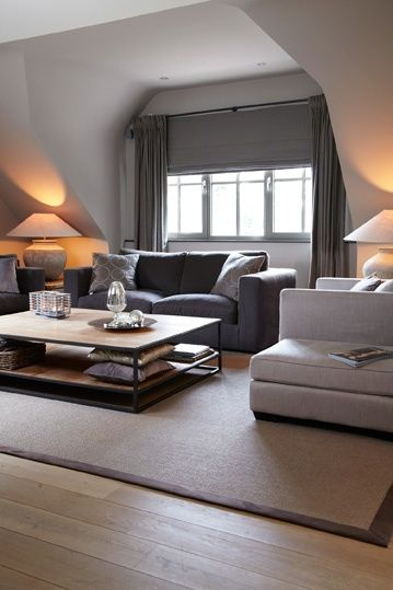 Grey and white living room.