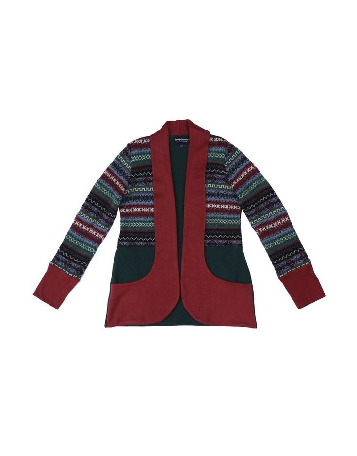 Burgundy, blue and green upcycled cardigan sweater with shawl collar and pockets in bamboo cotton contrast.