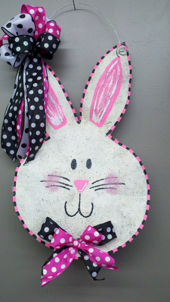 WELCOME! Burlap is HOT HOT HOT!!! You must have one of these door hangers for your home, office, classroom, store...endless possibilities! The hangers can also be hung from garden flag poles for a wonderful yard decoration! The bunny face door hanger is such a sweet way to welcome family and friends and dress up any door for the holiday. Burlap wreaths make wonderful gifts! I use heavy duty burlap that is conditioned for outdoor and indoor use. Totally waterproof. The burlap is stuffed for a…