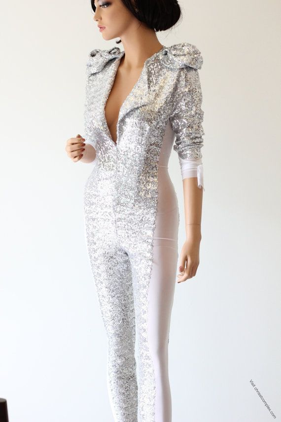 Catsuit Silver Sequin K Pop Super Hero Cosplay Costume Fashion Bodysuit - Unique Fashion - SPECIAL ETSY PRICE