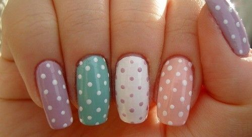 Polka dot & pastel colors.