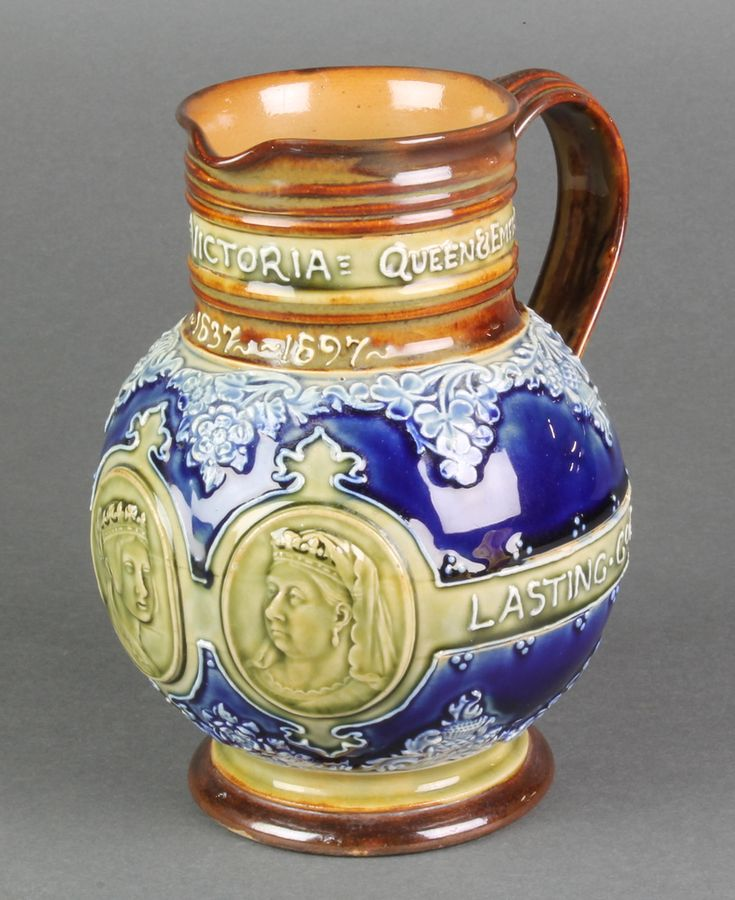 "Lot 94, A Doulton Lambeth commemorative jug Queen Victoria 1837-1897 with impressed marks 7"", est £30-60"