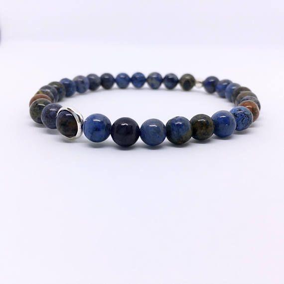 Sodalite Bracelet, Blue Sodalite, Orange Sodalite, Sterling Silver, Blue Stone, Sodalite Jewelry, Calming Protection, Career Bracelet