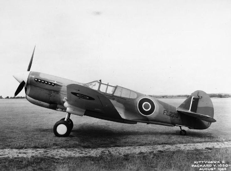 AMERICAN AIRCRAFT RAF SERVICE 1939-1945 CURTIS HAWK 87A KITTYHAWK (ATP 10932C)   Kittyhawk Mark IIA, FL220, on the ground at Hamble, Hampshire after erection by Air Service Training Ltd. This aircraft, unusually for the type, remained in Great Britain throughout its service life, flying with Aeroplane and Armament Experimental Establishment, the Handling Squadron and Empire Central Flying School, and was finally returned to Air Service Training Ltd.