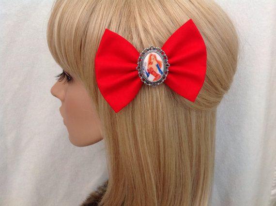 Jessica rabbit hair bow clip rockabilly by GrimAndProperDesigns