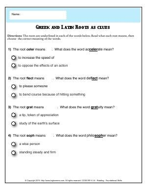 Worksheet | Greek and Latin Roots as Clues | Read what each root ...