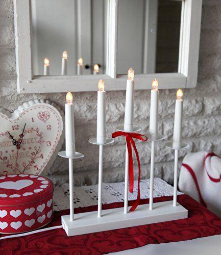 Elektrischer Fensterleuchter / Kerzenleuchter aus massivem Metall - edel und hochwertig - weiss/ rote Schleife (abnehmbar) - 5 flammig , 36 x 31 cm , Farbe : WEISS , Zuleitung ca. 180 cm , für den Innen - Bereich - NEU aus dem KAMACA-SHOP - auch in SCHWARZ erhältlich Kamaca http://www.amazon.de/dp/B00KPBKDPG/ref=cm_sw_r_pi_dp_cLouub186HBM3