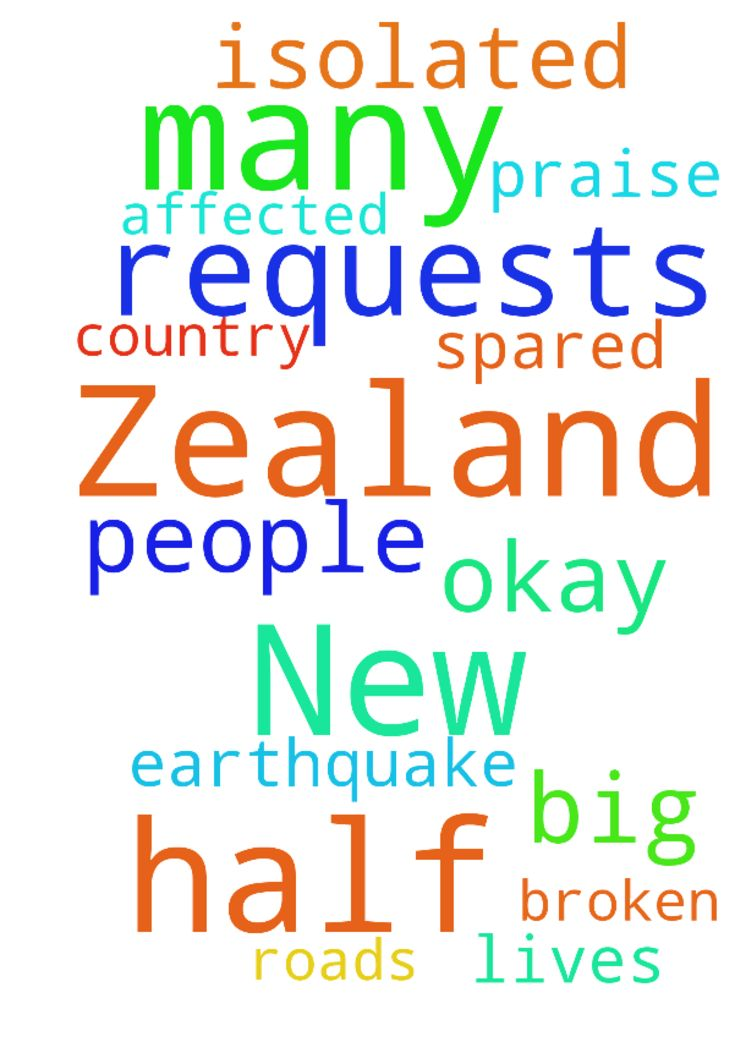 Prayer requests for New Zealand please. Half of the - Prayer requests for New Zealand please. Half of the country is affected by a big earthquake. I praise God that many lives were spared. Im okay here but many people are isolated by broken roads Posted at: https://prayerrequest.com/t/ogf #pray #prayer #request #prayerrequest