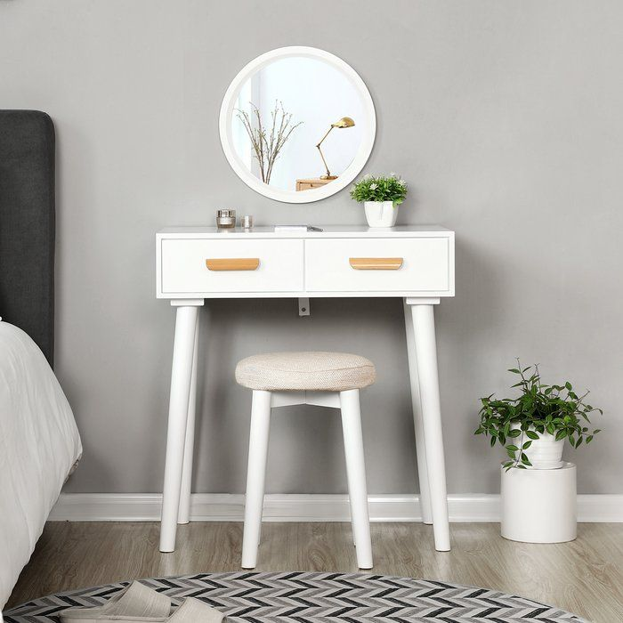 Norden Home Augustine Modern Dressing Table Set With Mirror Reviews Wayfair Co Uk Dressing Table Set Furniture Table