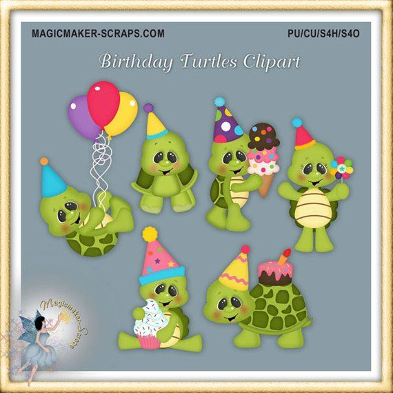 Birthday Turtle Clipart Party Etsy Etsy Clip Art Calendar Stickers