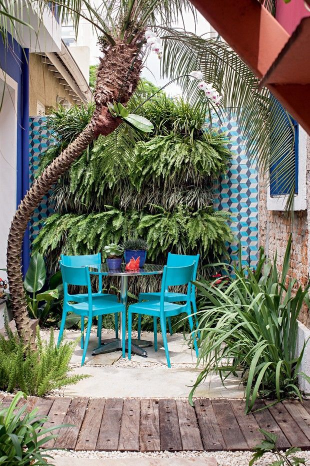 O cantinho entre a cozinha do escritório e a sala de reuniões, da casa de Catê, ganhou mesa e cadeiras da Tok & Stok e um jardim vertical com samambaias e barbas-de-serpente intercaladas. Ao fundo, ladrilhos hidráulicos da Ladrilar. Do lado esq., palmeira fênix com aspargos-pluma na base. À dir., íris (Foto: Gui Morelli / Editora Globo)