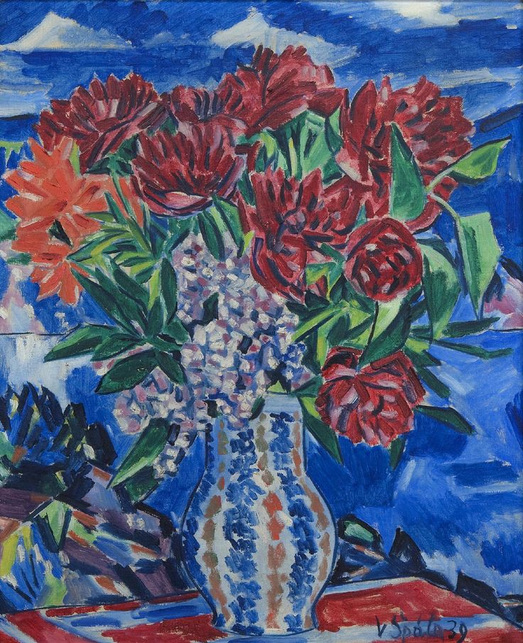 Květinové zátiší, 1939, olej, plátno, 73,5×60 cm