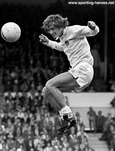 23rd August 1975. Leeds United striker Allan Clarke against Ipswich Town.