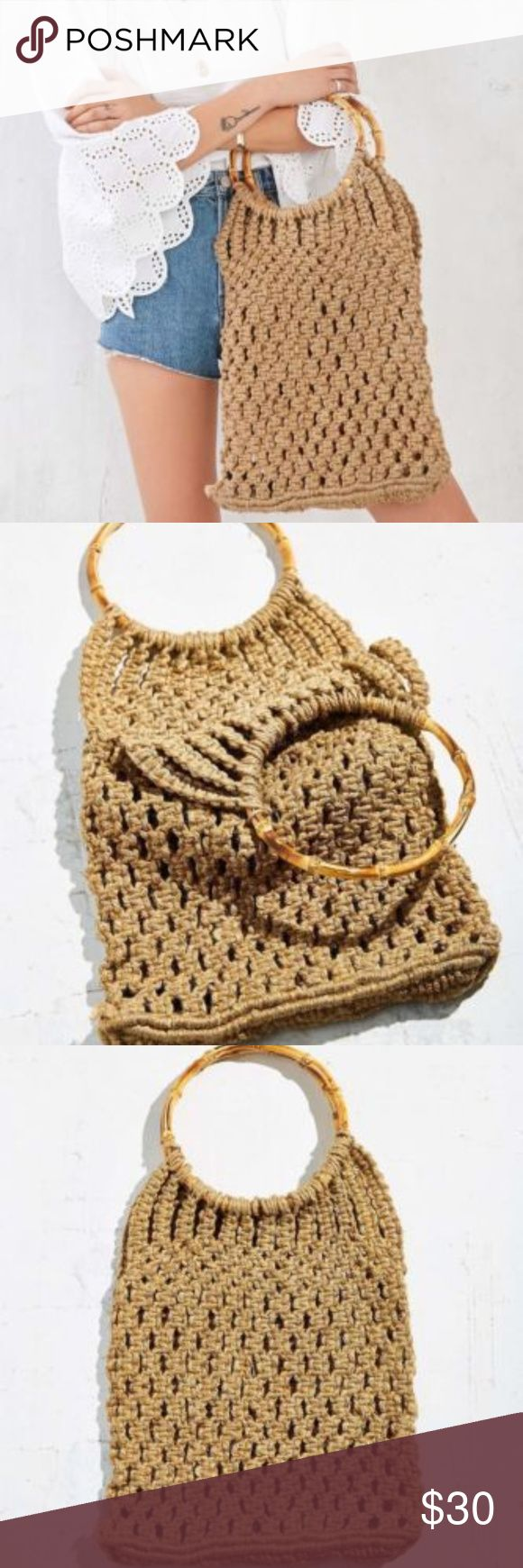 """NWOT Urban Outfitters Ecote weave tote bag Ecote Bamboo Handles Jute Weave Tote Bag Purse Urban Outfitters New w/o tag-tag is marked to prevent return to retail store Retail $59 14"""" tall without handles 100% Jute Urban Outfitters Bags"""