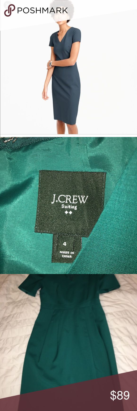 J crew cap sleeve suit dress emerald green Emerald Green - excellent quality! Italian wool v neck dress with decorative cap sleeve detail. Feminine while sophisticated! No longer available on-line. Timeless look! Snag this beauty while it is available!! J. Crew Dresses