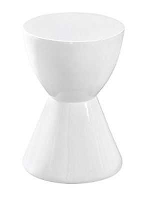Edge Funky White High Gloss Lacquered Round Shaped Skittle End Table