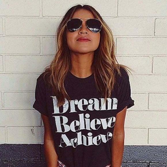 Dream Believe Achieve Tshirt Stylish Tshirt for daytime/night night Material: Cotton, Color: Black, Collar: O-neck, Sleeve: Short sleeve, Length: Regular, Pattern: Letters Print Boutique Tops Tees - Short Sleeve