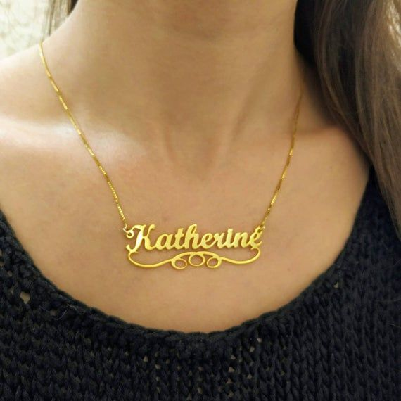 Custom Gold Nameplate Personalized Fashion Jewelry Gift 18k Gold Plated ANY NAME Katherine Style Name Necklace Gold Name Necklace