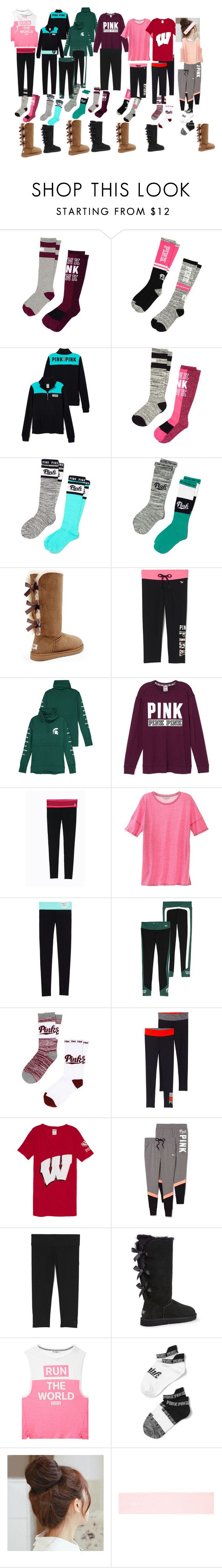 """All Pink/Victoria's Secret clothing outfits for school"" by gingger8 on Polyvore featuring Victoria's Secret PINK, Victoria's Secret, UGG Australia, Pin Show, school, Pink, Victoria and comfy"