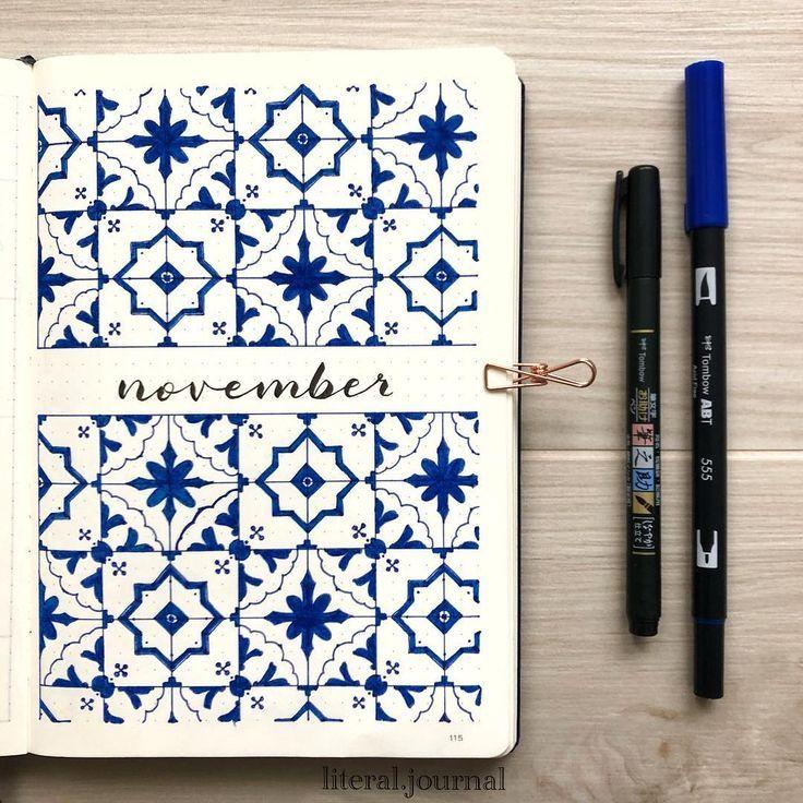 Endlich mein November-Deckblatt, inspiriert von portugiesischen Kacheln, seit …  #deckblatt #endlich #inspiriert #kacheln #novembe