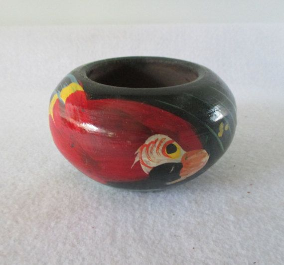 Parrot Painted Bowl Vintage Wood Tropical Decor by HobbitHouse