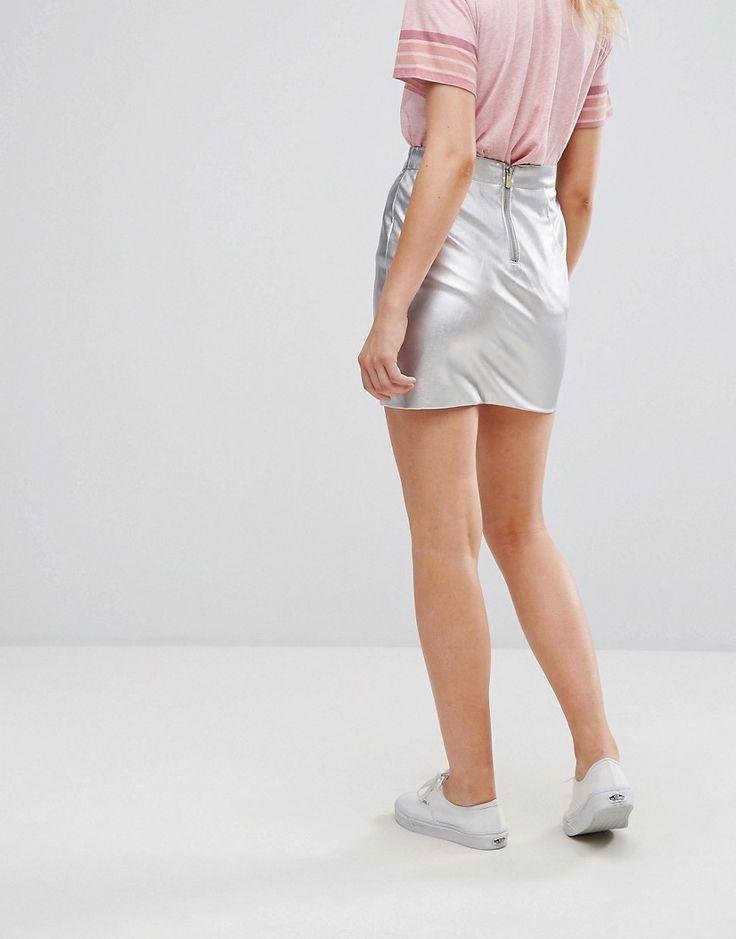 Pepe Jeans Silver PU Mini Skirt - Silver