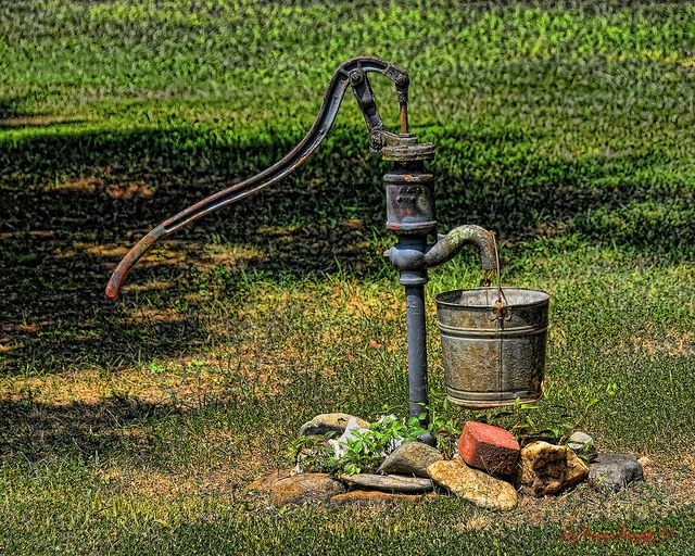 Old water pump & bucket by T.A.Pennington, via Flickr