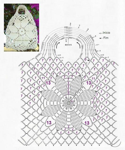 Crochet handbag diagram.