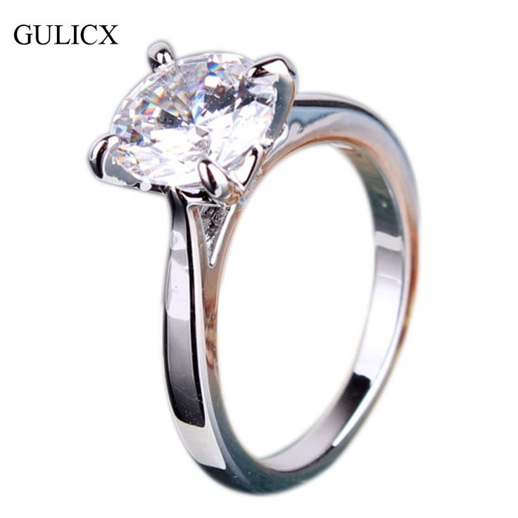 Fashion Wedding Rings 2016 Genuine  White Gold Plated engagement Rings for Women Round Crystal CZ Zirconia Band Jewelry R036
